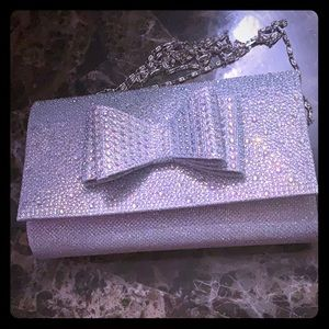 NWT D'Margeaux Silver Bow Front Clutch